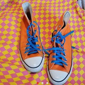 Neon Orange and Bright Blue Custom Converse